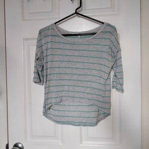 Forever 21   striped high low crop top